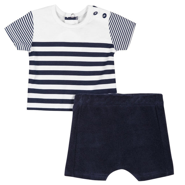 Absorba Baby Boys Navy Striped Shorts Set