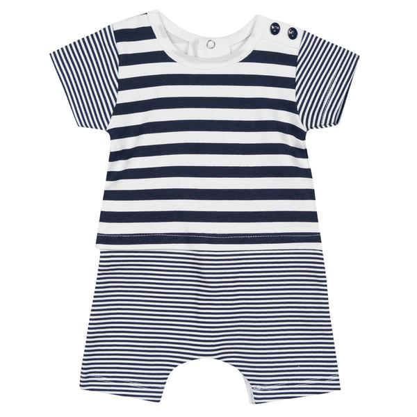 Absorba Baby Boys Blue and White Striped Romper