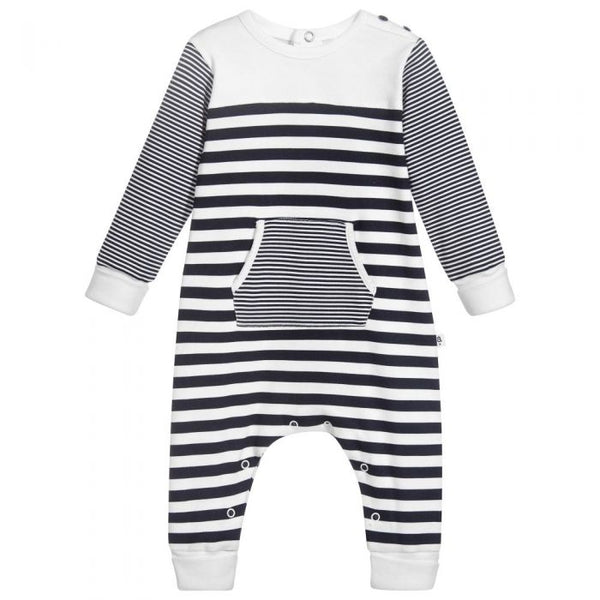 Absorba Navy Multi Stripe Footless Babygrow With Pocket