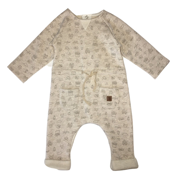 Absorba Baby Cream And Brown Babygrow With Pockets