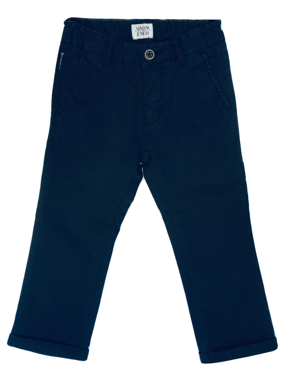 Amani Boys Navy Blue Chino Trousers With Logo