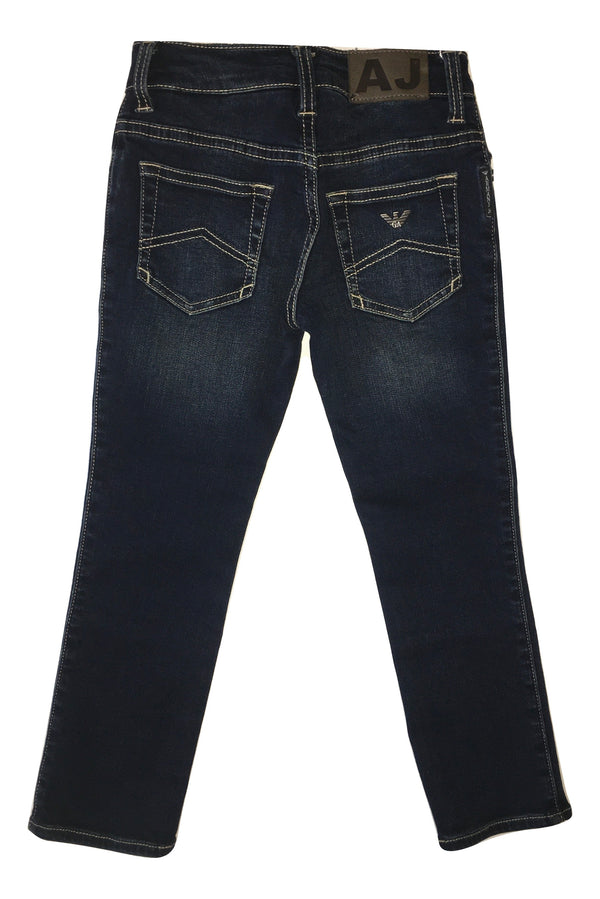 Armani Boys Darker Blue Jeans With Logo