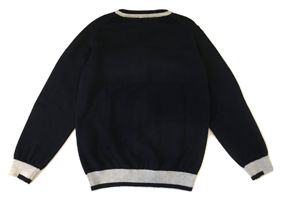 Armani Boys Navy Blue And Grey V Neck Sweater With Front Logo