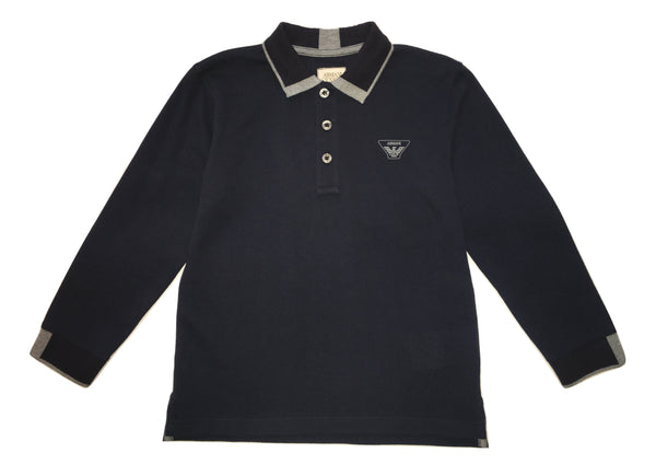 Armani Boys Navy Blue And Grey Long Sleeves Polo With Front Logo