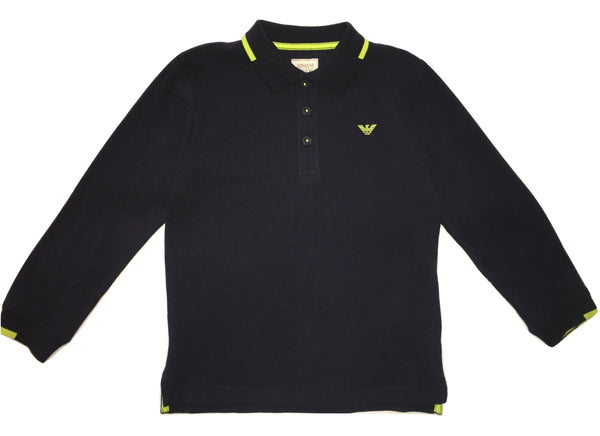 Armani Boys Navy Blue And Green Long Sleeves Polo With Front Logo