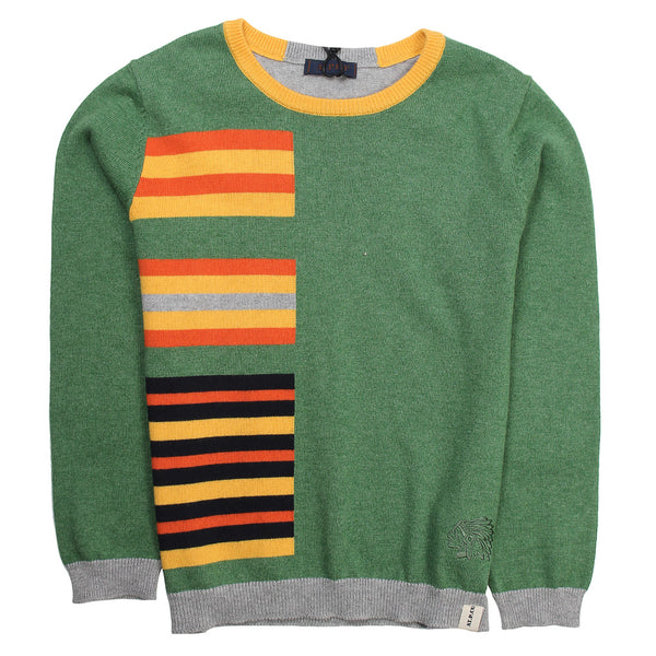 Atipico Boys Multicolour Knitted Sweater With Elbow Patches
