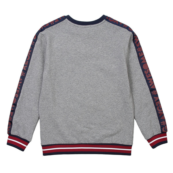 AYGEY Girls Grey Sweater With Red And Blue Stripes