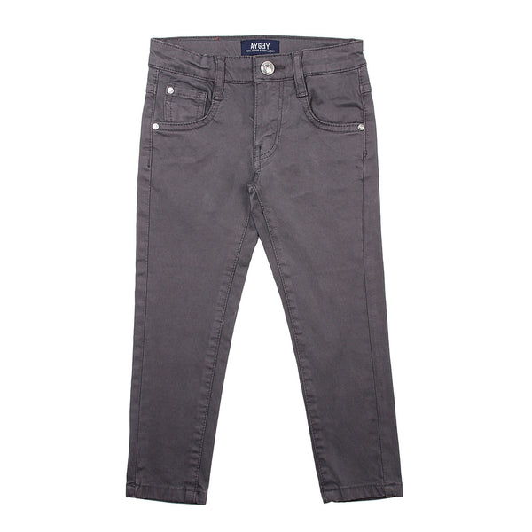 AYGEY Boys Slim Fit Grey Trousers