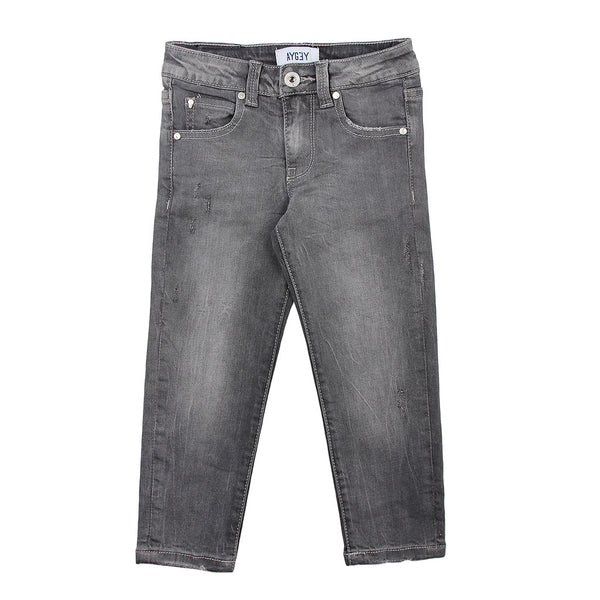 AYGEY Boys Slim Fit Grey Jeans With Leg Scratches