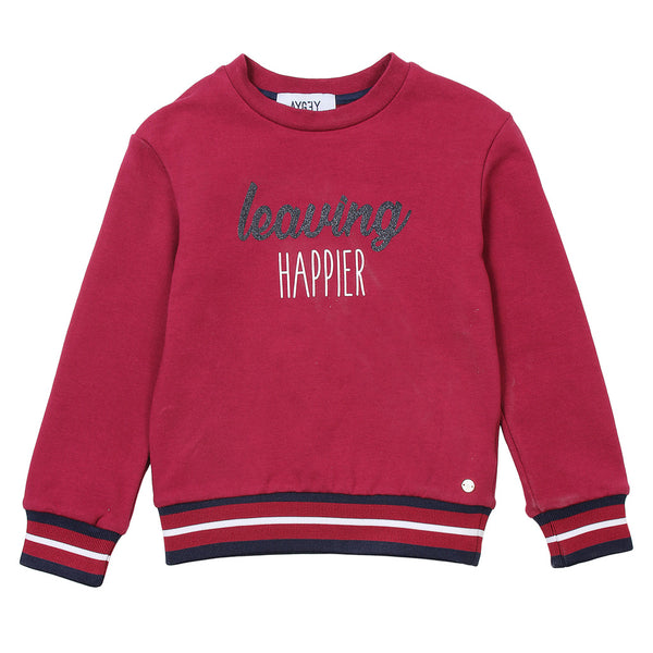 AYGEY Boys Red Jumper With Front Text And Stripes