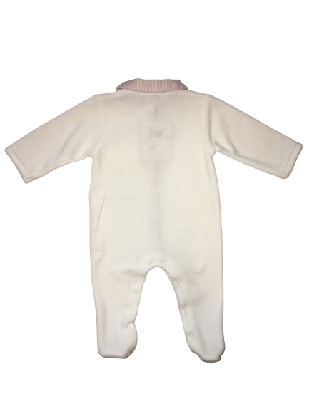 Absorba Baby Girls White and Pink Babygrow With Pocket And Bows