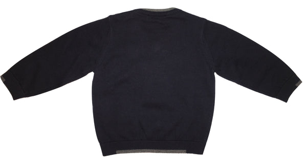 Armani Baby Boys Navy Blue and Grey Jumper With Logo