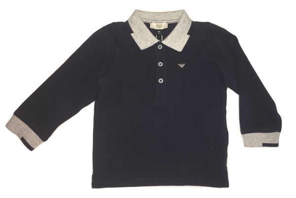 Armani Baby Boys Navy Blue and Grey Polo With Logo