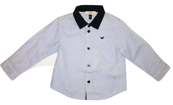 Armani Baby Boys Blue and Navy Blue Shirt With Logo