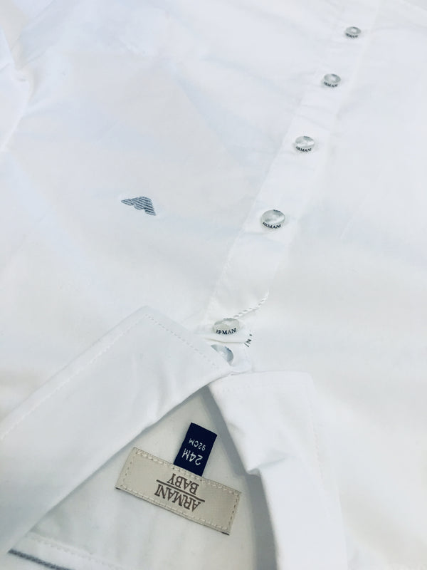 Armani Baby Boys White Shirt With Grey Logo