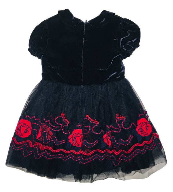 Blumarine Girls Navy Blue Ruffle Dress With Red Roses