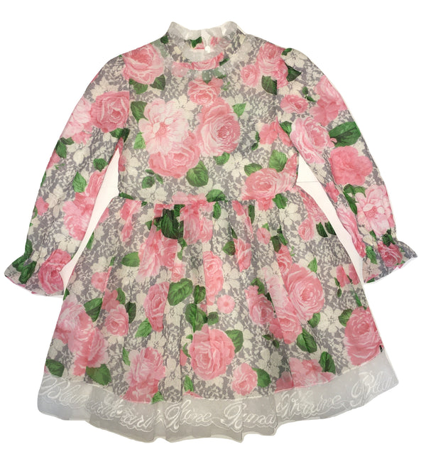 Blumarine Girls Colourful Flowery Ruffle Dress With Logo