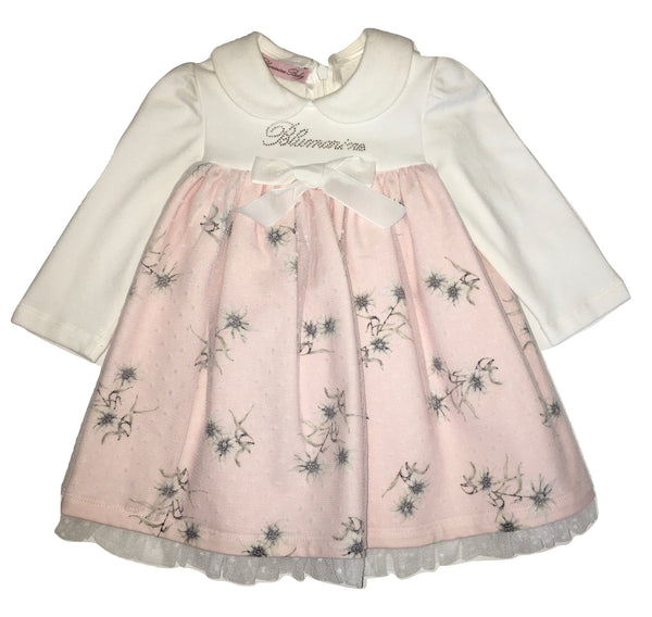 Blumarine Baby Girls Pink And White Ruffle Dress With Bow
