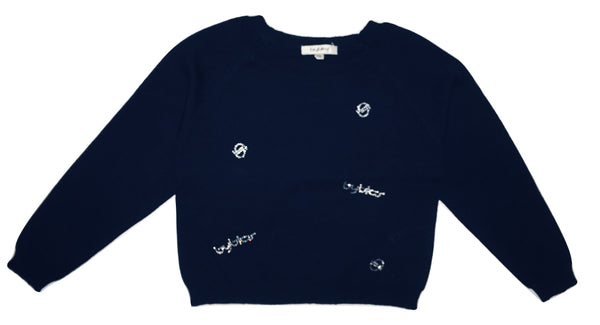 Byblos Baby Girls Navy Blue Cotton Blouse With Logo