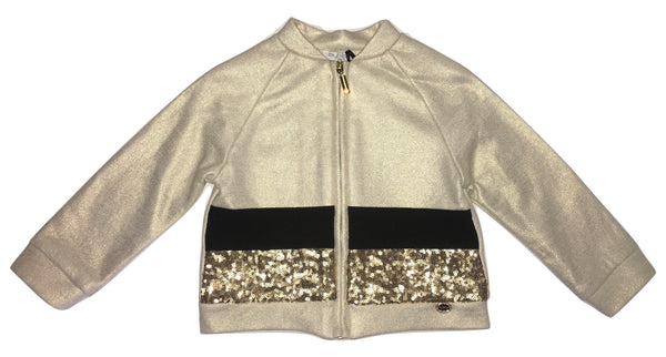 Byblos Girls Gold And Black Jacket/ Jumper With Sequin And Logo