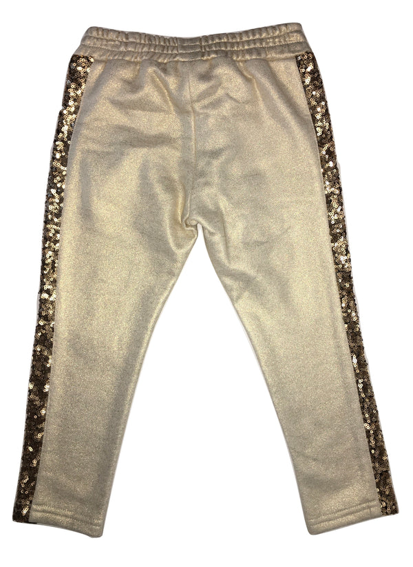 Byblos Girls Gold And Black Trousers With Sequin On The Sides