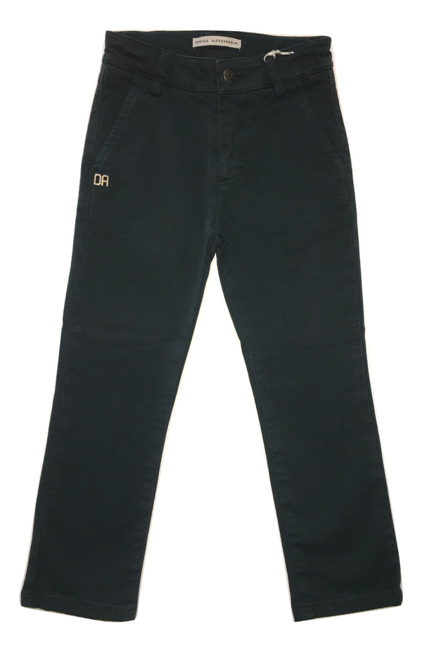 Daniele Alessandrini Boys Darker Green Chino Trousers With Logo