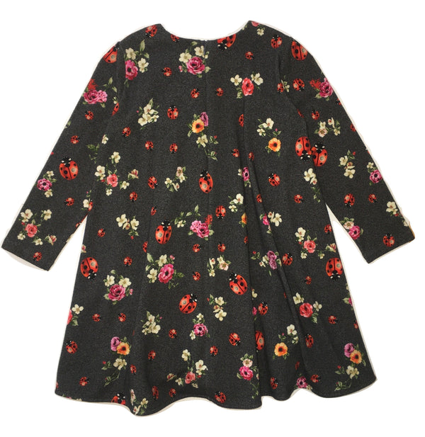 Dolce & Gabbana Girls Lady Bug Brown Dress With Colourful Flowers