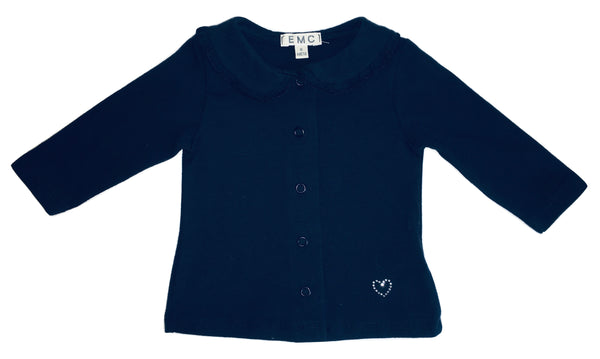 EMC Baby Girls Navy Blue Polo Cardigan With Clips