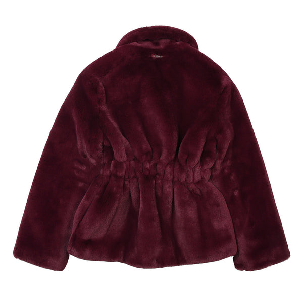 Frankie Morello Girls Plum Fur Jacket With Front Ribbon