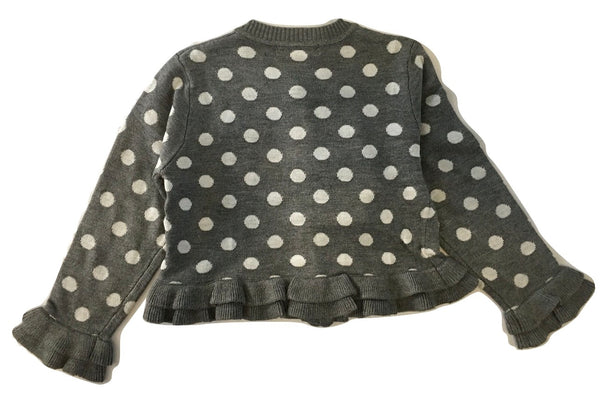 Gaialuna Girls Grey Cardigan With White Polka Dots