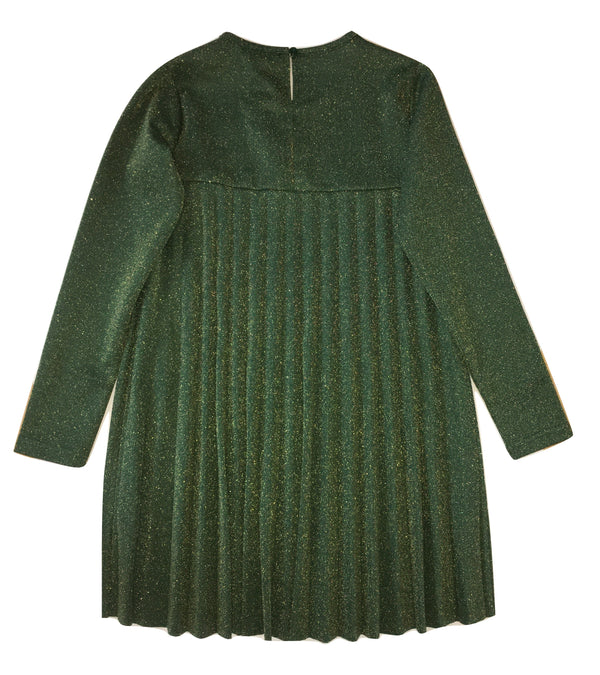 Gaialuna Girls Green Dress With Sparkle and Front Flower