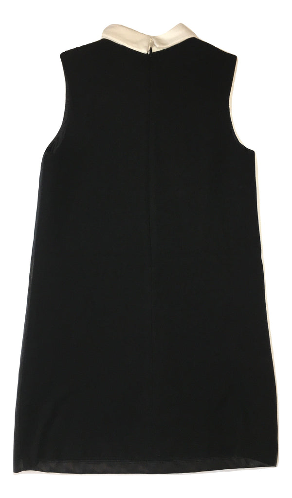 Gaialuna Girls Black Dress Leather - Like With Front White Text And Collar