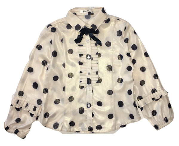 Gaialuna Girls Cream/ Goldish And Black Polka Dots Shirt