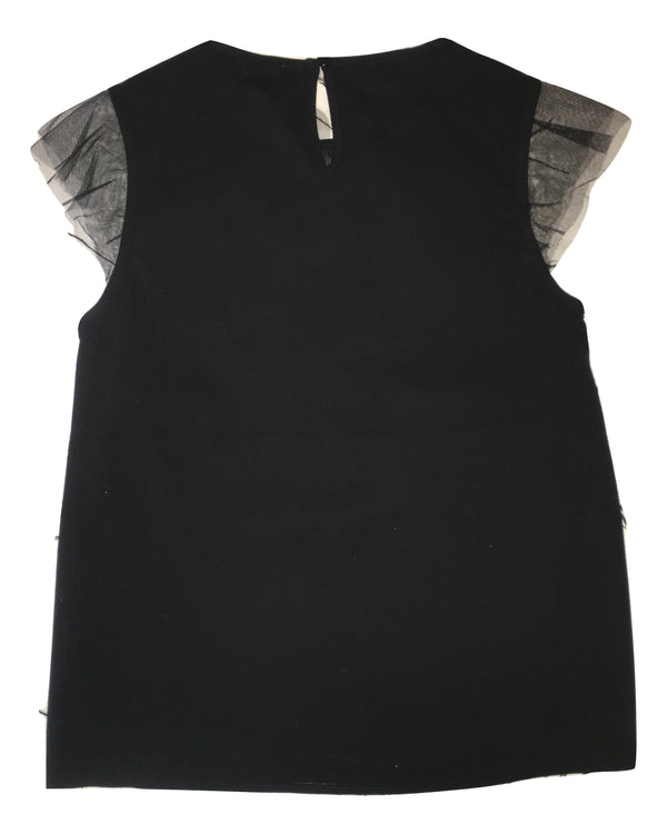 Gaialuna Girls Black Top With Sequin And Feather