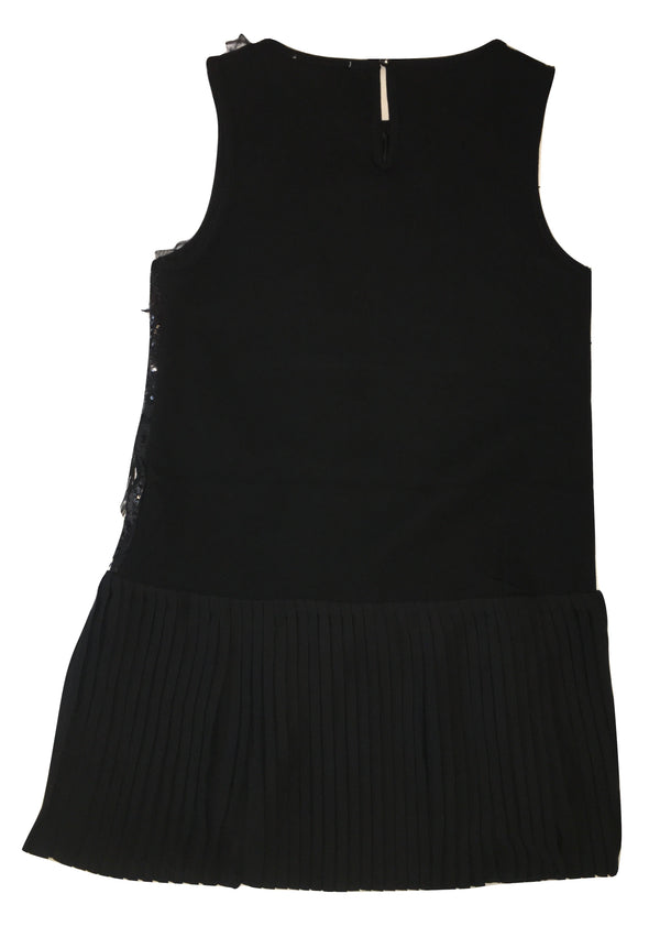 Gaialuna Girls Black Dress With Sequin And Feather