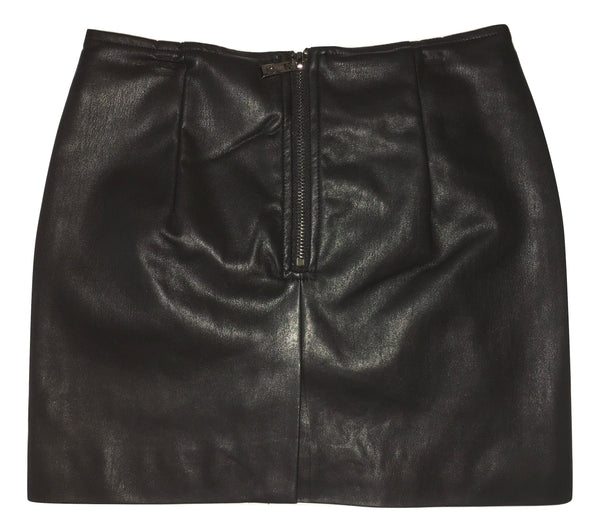 Gaialuna Girls Black Leather - Like Skirt With Flowers