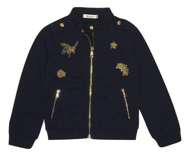 Gaialuna Girls Navy Blue Jacket/ Jumper With Front Gold Beading