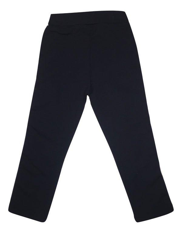 Gaialuna Girls Navy Blue Skinny Trousers With Side Stripes