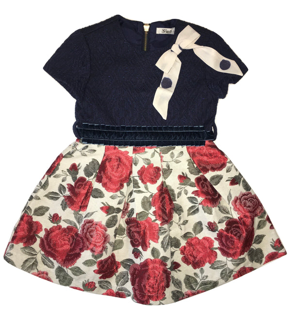 Gaialuna Girls Blue And Cream Dress With Red Roses