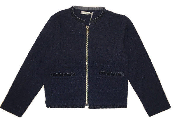 Gaialuna Girls Navy Blue Jacket/ Jumper With Zip And Pockets