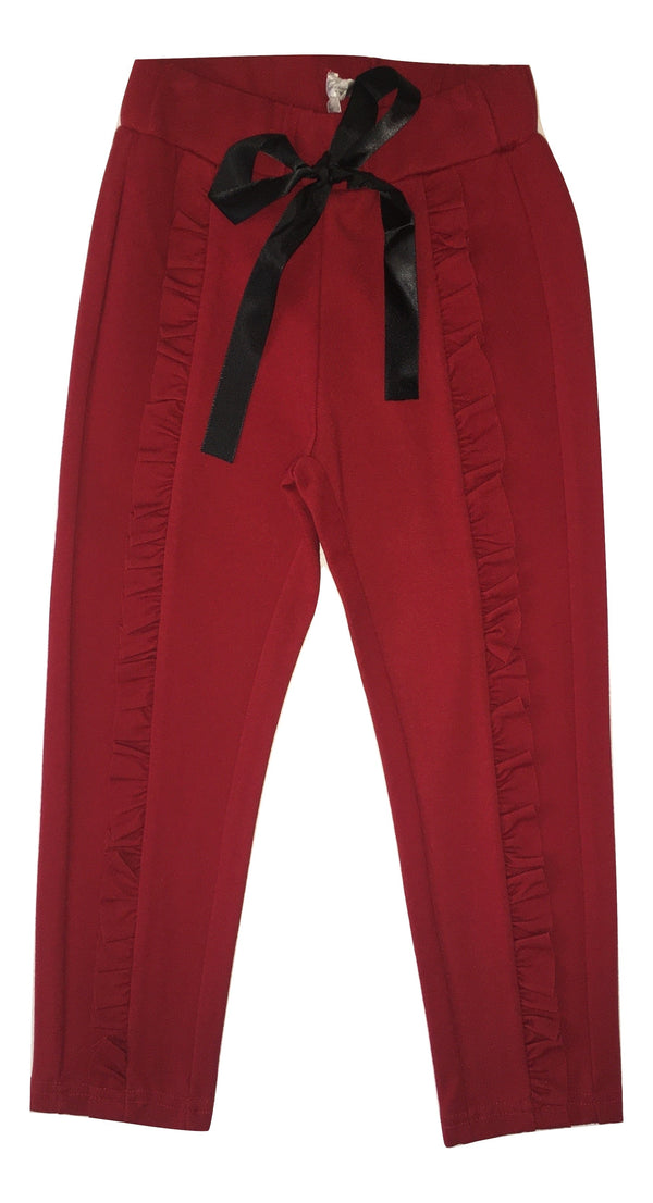Gaialuna Girls Red Trousers With Front Black Ribbon