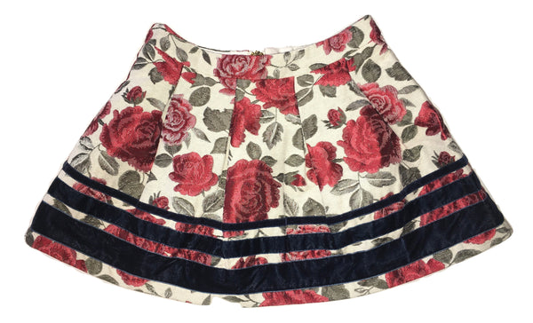Gaialuna Girls Cream Skirt With Red Roses