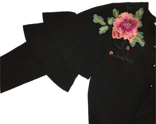Gaialuna Girls Black Cardigan With Front Shoulder Flower