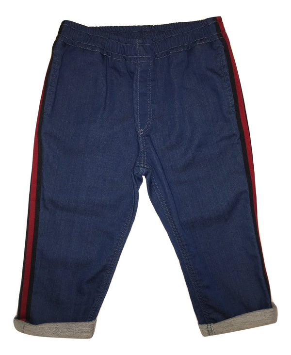 Gucci Boys Blue Trousers with Red and Navy Side Stripes