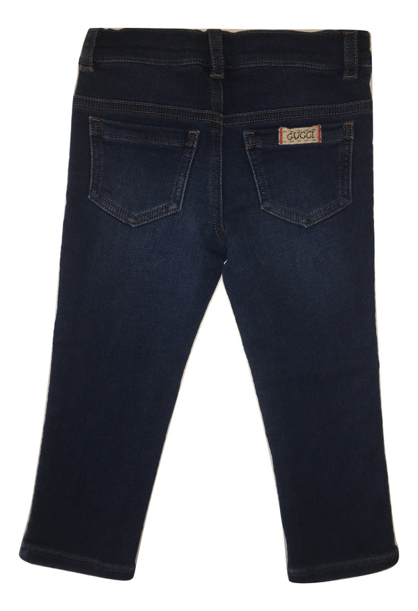Gucci Girls Blue Stretchy Jeans With Logo