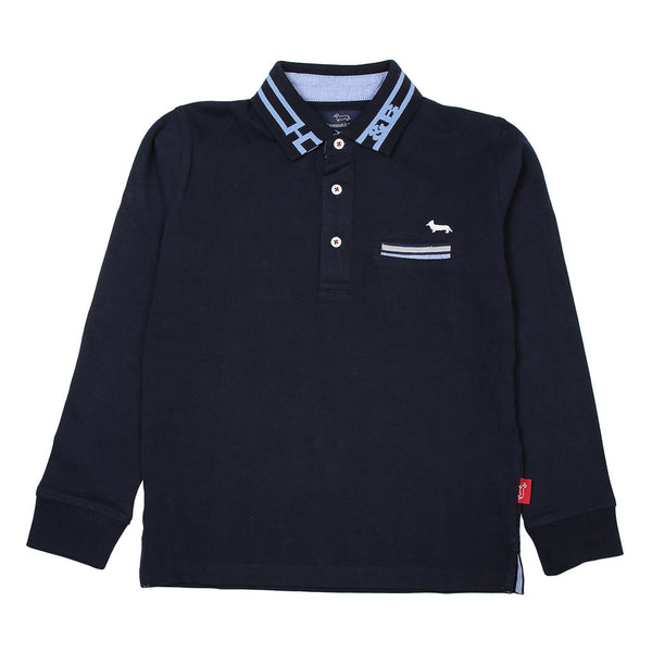 Harmont & Blaine Boys Navy Blue Long Sleeves Polo With Front Logo