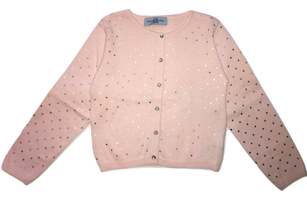 Harmont & Blaine Girls Pink Cardigan With Silver Polka Dots