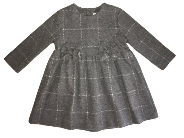 Il Gufo Girls Grey Cotton Dress With Two from Bows