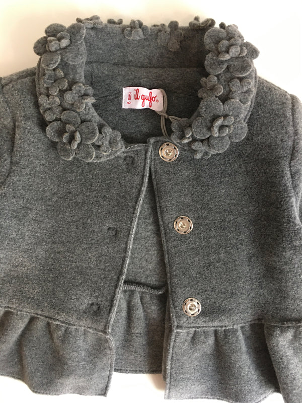 Il Gufo Girls Grey Jacket With Beautiful Flower Neck