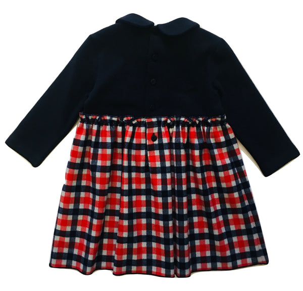 Il Gufo Baby Girls Blue And Red Check Dress With Bow